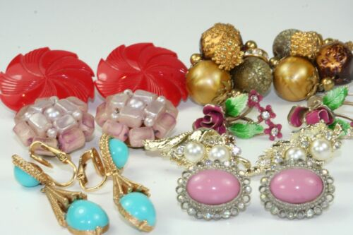 LOT OF 7 PAIRS VINTAGE CLIP ON & SCREW EARRINGS GLASS RHINESTONE FAUX PEARL