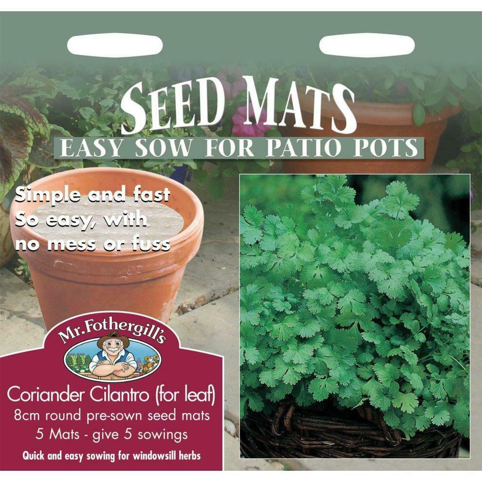 Mr Fothergills Pictorial Packet Herb Coriander Cilantro For Leaf 8cm Seed Mats