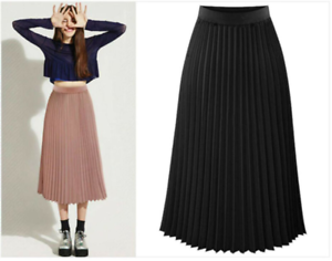 Summer-Women-Pleated-Chiffon-dress-Elastic-Waist-Long-Midi-Slim-Fit-Loose-Skirts