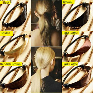 Image is loading Fashion-Straight-Synthetic-Hair-and-Elastic-Ponytail- Holders 1a59ffd81c3