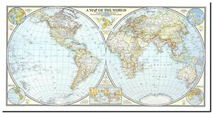 Stunning 1940s world map in hemispheres canvas print 24x 40 image is loading stunning 1940 039 s world map in hemispheres gumiabroncs Image collections