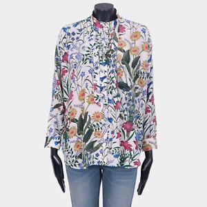 GUCCI-1300-Authentic-New-Silk-Crepe-De-Chine-Floral-Print-Bow-Shirt