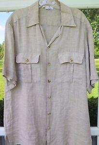 Zanella-Men-039-s-Short-Sleeve-100-Linen-Light-Brown-Italian-Casual-Shirt-Medium