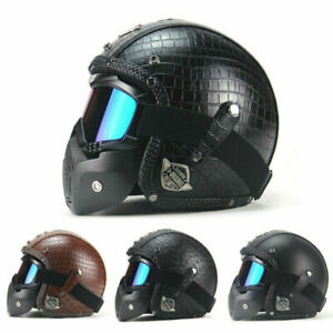 US-Original-Vintage-Leather-Motorcycle-Helmets-Motocross-w-Open-3-4-Full-Cover