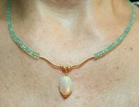 Ethiopian Red Blue Green Fire Opal Solid 14k Gold Colombian Emerald Necklace