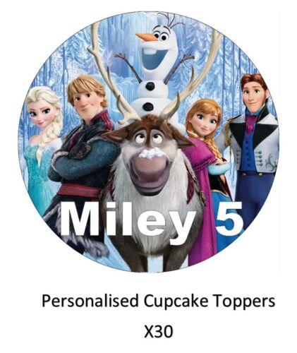30 x frozen disney personnalisé cupcake toppers comestible gaufre papier fairy cakes