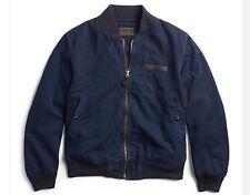 $590 RRL Ralph Lauren VINTAGE INDIGO COTTON MILITARY BOMBER JACKET COAT-MEN-L