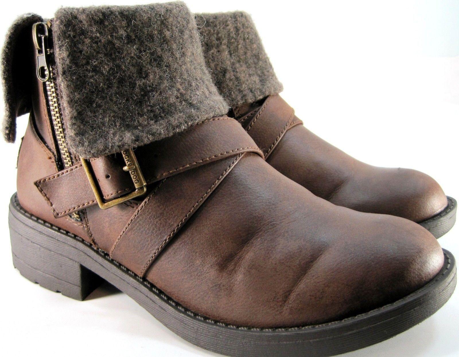 Rocket Dog Damens Ankle Stiefel Größe 6.5 M Euro 37 Braun Brass Zippers Buckle