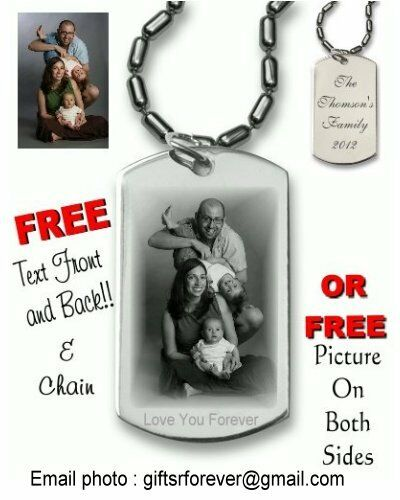 Custom Photo Etch Plus FREE Chain Personalized Laser Engraved Dog Tag
