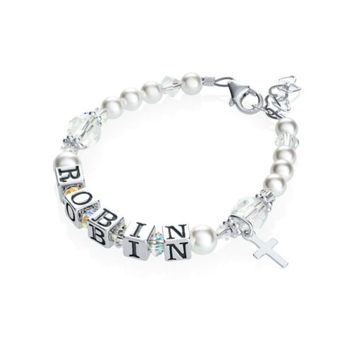 Swarovski White Pearls and Crystals with Cross Charm Personalized Name Bracelet