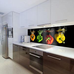 Tapete Vlies Fototapeten für Küche Gemüse bunte Paprikas Splash ...