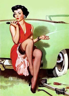 "Vintage GIL ELVGREN Pinup Girl CANVAS ART PRINT Poster Car trouble 16""X 12"""