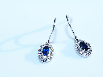 Sterling Silver Oval Natural Blue Sapphire Dangle Lever Back Earrings 3.75TCW