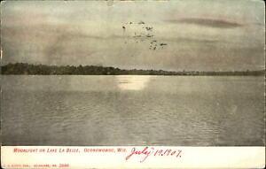 Moonlight-on-Lake-La-Belle-Oconomowoc-Wisconsin-WI-night-view-UDB-mailed-1907
