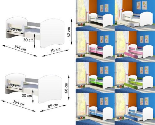 Babybett,Jugendbett 140x70 und 160x80 in 6 Farben Kinderbett Fantasia in Weiss