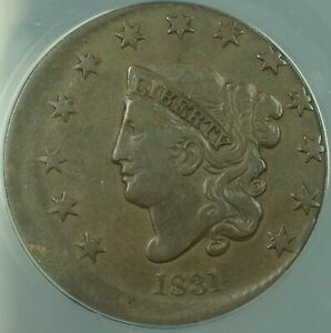 1831-Large-Cent-1c-Mint-Error-5-Off-Center-ANACS-VF-25