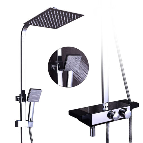 Duscharmatur Handbrause Regendusche Set mit Seifenablage Duschkopf Duschsystem