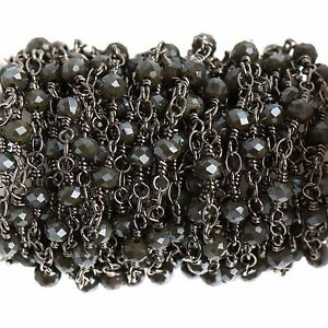 13ft CHARCOAL GREY Crystal Rosary Bead Chain, gunmetal, rondelle, fch0690b