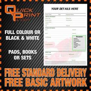 ESTIMATE PADS PRINTED WITH YOUR DETAILS 3 PART NCR INVOICE ORDER 10 x A4