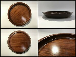 Japanese-Natural-Wooden-Obon-Tray-Vintage-Lacquer-Ware-Sencha-Round-Brown-Z204