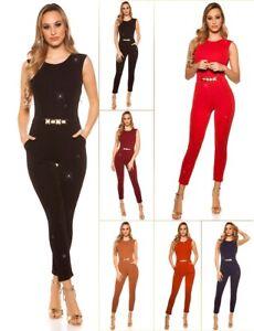 Damen-Koucla-Overall-Jumpsuit-Playsuit-Glitzeroverall-mit-Schnalle