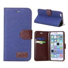 Denim & Leather Wallet Case per iPhone Plus 6 & Free Pellicola Schermo e Panno ***