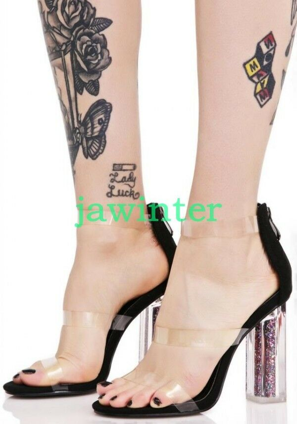 Open toes High Block Heel Sequins Sandals PVC Party shoes Clear SHoes Runway new