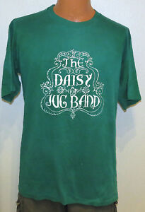 vtg-THE-DAISY-JUG-BAND-80s-t-shirt-XL-country-folk-rock-green-distress-rare