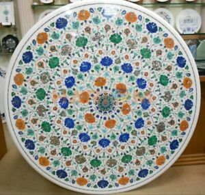 40'' White Marble Center Table Top Precious Floral Inlay Living Room Decors W648