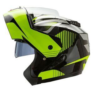 Cruizer-Casco-Moto-Modulare-Integrale-Doppia-Visiera-Omologato-Nero-Giallo