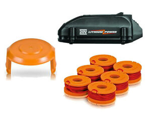 WORX 20V Lithium Tune Up Kit 1 Battery 1 6pk Spools 1 Cap Cover
