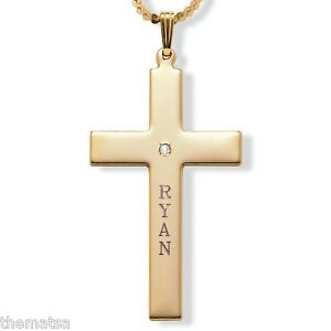 PERSONALIZED-14K-GOLD-CROSS-NECKLACE-PENDANT-CHAIN-FREE-ENGRAVING-AND-SHIPPING