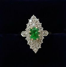 Antique Art Deco Emerald & 1.30ct Diamond Marquise Ring In 18ct Rose Gold-size N