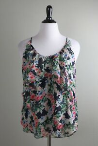 REBECCA-TAYLOR-NWT-278-Rose-Floral-Ruffle-100-Silk-Cami-Tank-Top-Size-12