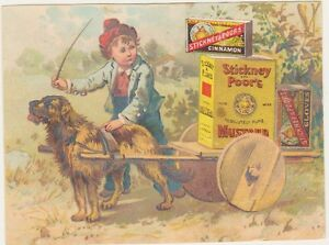 Details about Stickney & Poor's Mustard Advertising Trade Card Boston, MA  Dog, Boy, Cart, Food