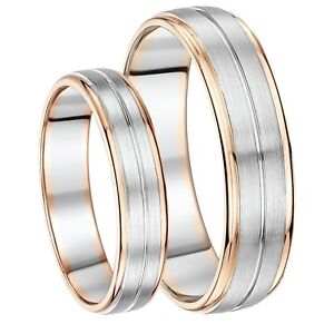 93c28471ba Details about His & Hers 5&6mm Palladium and 9ct Rose Gold Wedding Ring