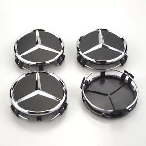 4x-75mm-schwarz-Radmitte-Radkappe-Abzeichen-Emblem-Felgenabdeckung-Mercedes-Benz