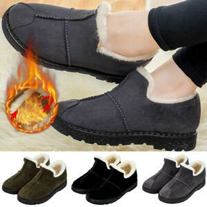 Womens-Winter-Warm-Fur-Lined-Slip-On-Slippers-Flat-Snow-Shoes-Fleece-Ankle-Boots
