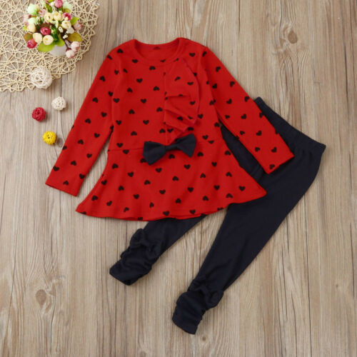 Kids Baby Clothes Girls Long Sleeve T Shirt Long Pants Tracksuit Outfits Set KW