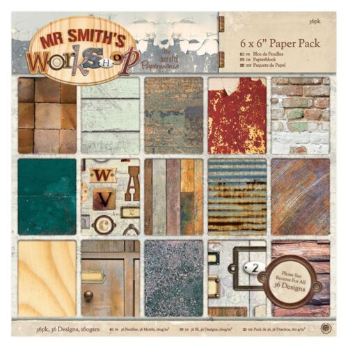 "Papermania 6 x 6/"" Paper Pack Mr Smith/'s Workshop  for cards /& crafts 36pk"