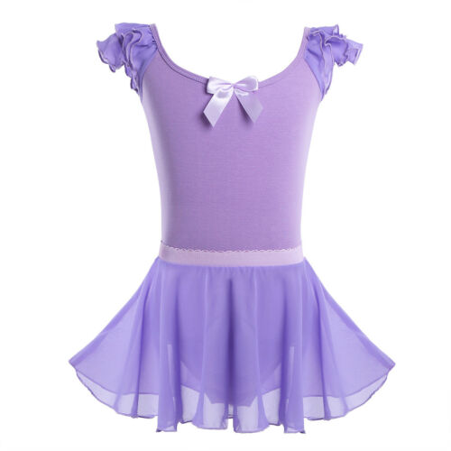 Kids Baby Girls Gymnastics Ballet Dancewear Leotard+Tutu Skirt Wrap Dress Outfit