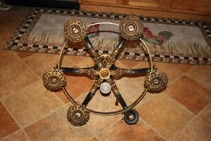 Antique-Victorian-Art-Deco-Art-Nouveau-6-Light-Chandelier-Gold-Accents-Large