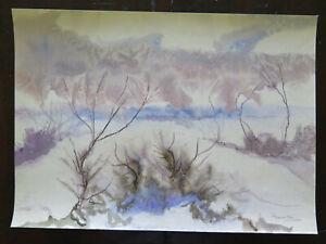 47x33-cm-Tableau-Paysage-Abstrait-Ans-60-Vintage-Peinture-de-G-Pancaldi-P14