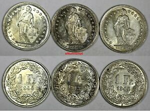 Switzerland-Silver-LOT-OF-3-COINS-1943-1944-1-Franc-UNC-Condition-KM-24