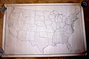 VINTAGE MAP USA COUNTY NAMES BOUNDARIES ALL BUREAU OF THE CENSUS ...