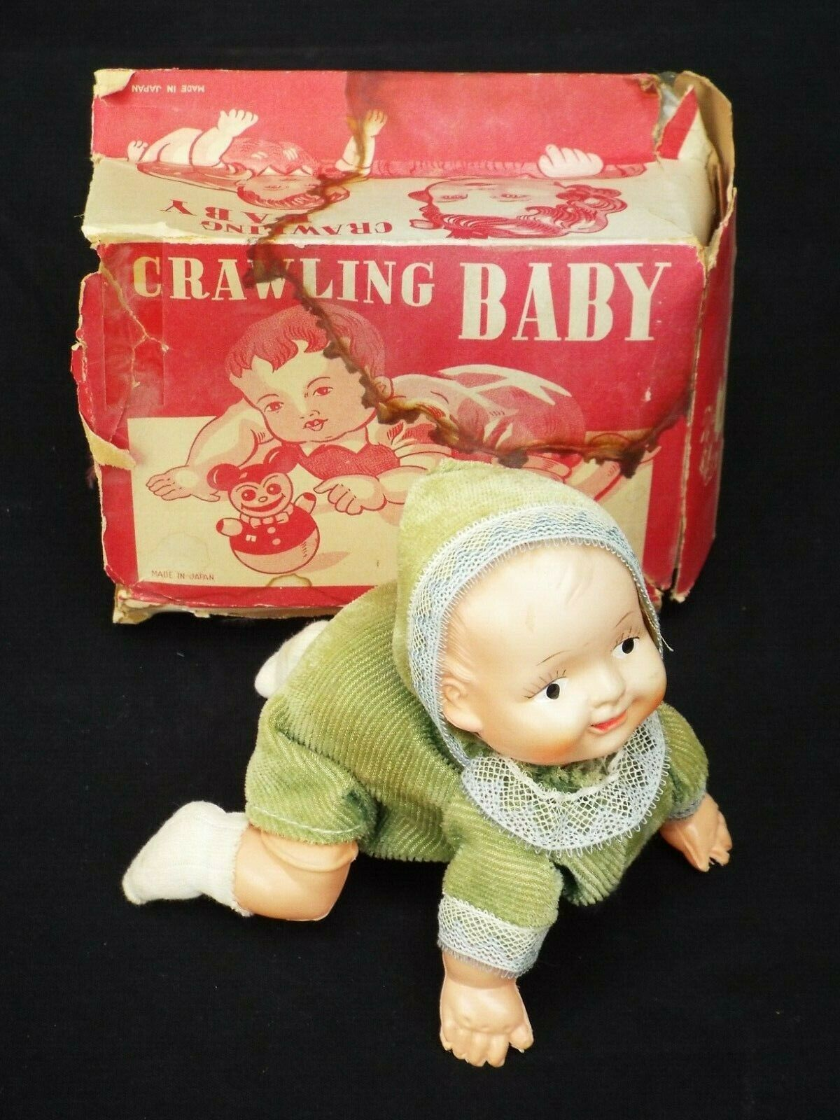 Vintage Celluloid Windup Toy  Crawling Baby  with Box Occupied Japan