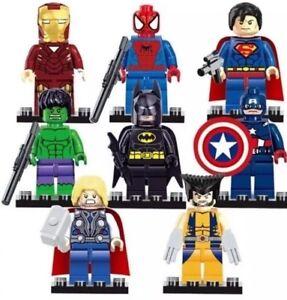 8 x Mini Figures Fit LEGO MARVEL DC minifigs 2019 NOUVEAU SET UK Super Heroes Blocks