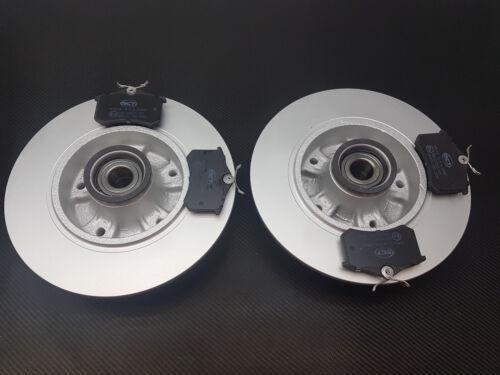 RENAULT MEGANE MK3 08-12 REAR 2 BRAKE DISCS PADS FITTED WHEEL BEARINGS ABS RINGS