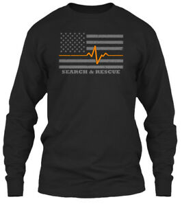Thin-Orange-Line-Search-And-Rescue-Flag-amp-Gildan-Long-Sleeve-Tee-T-Shirt