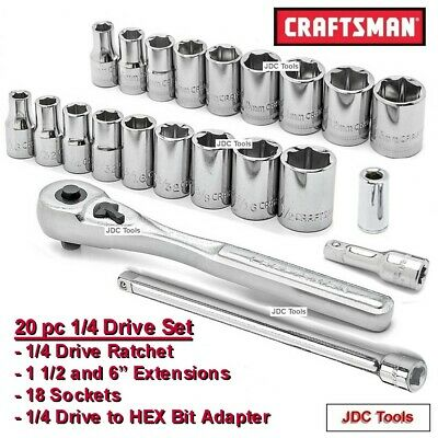 """Inch//Metric Socket Wrench Set w 3/"""" extension Craftsman 20-PC 1//4/"""" Drive 6-pt"""